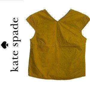 KATE SPADE SATURDAY capped sleeve mustard top